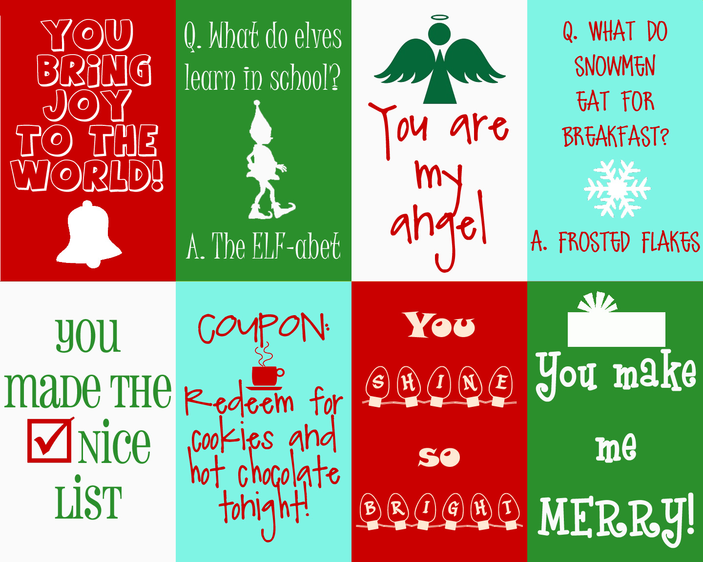 Cut out Coloring Christmas Cards - Cute Printable Writing ...  Cute Printable Holiday Cards